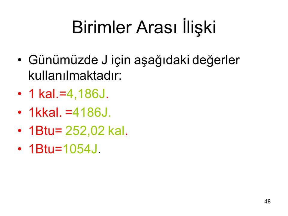 48 Birimler Arası İlişki •Günümüzde J için aşağıdaki değerler kullanılmaktadır: •1 kal.=4,186J. •1kkal. =4186J. •1Btu= 252,02 kal. •1Btu=1054J.