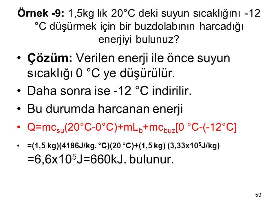 59 Örnek -9: 1,5kg lık 20°C deki suyun sıcaklığını -12 °C düşürmek için bir buzdolabının harcadığı enerjiyi bulunuz? •Çözüm: Verilen enerji ile önce s