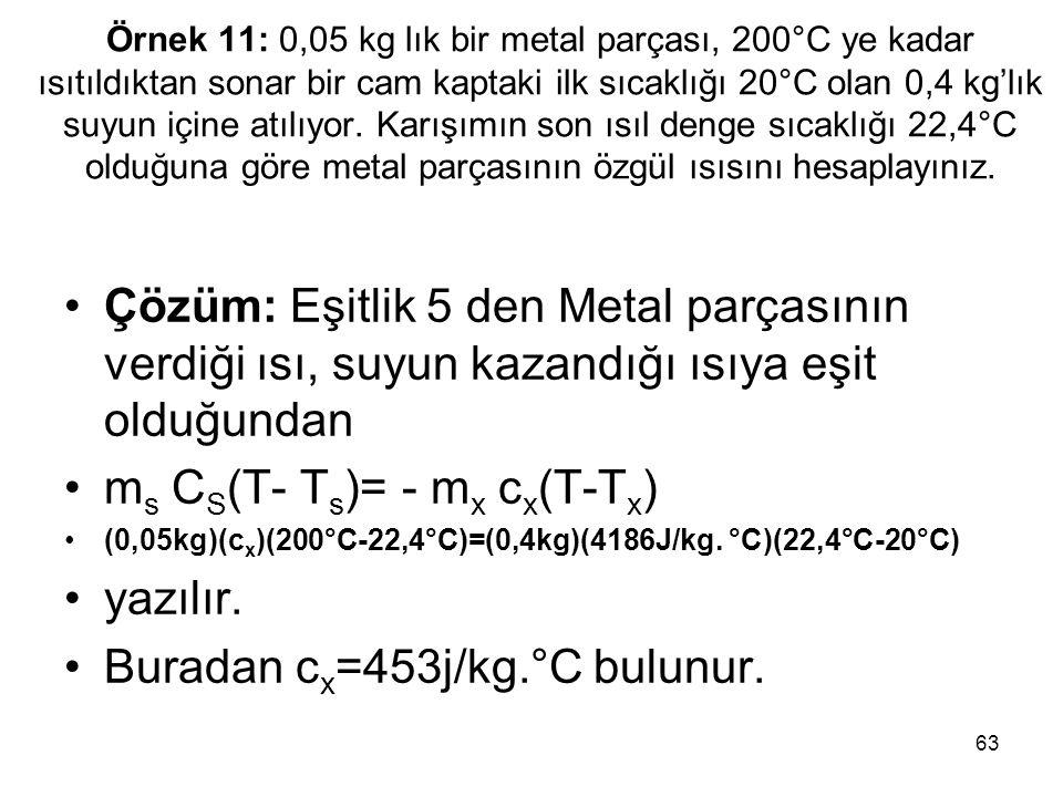 63 Örnek 11: 0,05 kg lık bir metal parçası, 200°C ye kadar ısıtıldıktan sonar bir cam kaptaki ilk sıcaklığı 20°C olan 0,4 kg'lık suyun içine atılıyor.