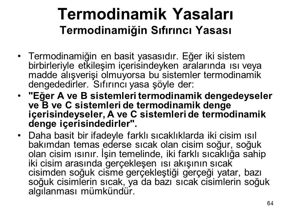 64 Termodinamik Yasaları Termodinamiğin Sıfırıncı Yasası •Termodinamiğin en basit yasasıdır. Eğer iki sistem birbirleriyle etkileşim içerisindeyken ar