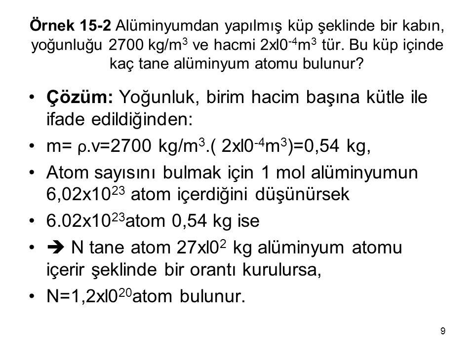 9 Örnek 15-2 Alüminyumdan yapılmış küp şeklinde bir kabın, yoğunluğu 2700 kg/m 3 ve hacmi 2xl0 -4 m 3 tür. Bu küp içinde kaç tane alüminyum atomu bulu