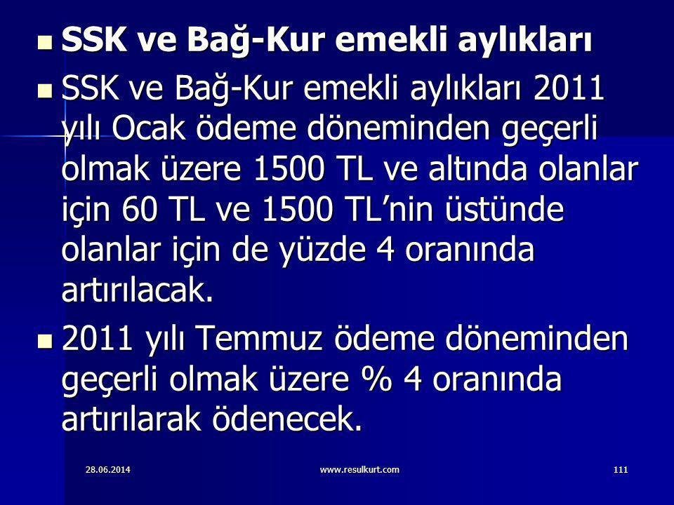 28.06.2014www.resulkurt.com111  SSK ve Bağ-Kur emekli aylıkları  SSK ve Bağ-Kur emekli aylıkları 2011 yılı Ocak ödeme döneminden geçerli olmak üzere
