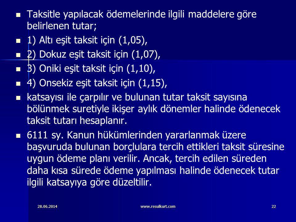 28.06.2014www.resulkurt.com22   Taksitle yapılacak ödemelerinde ilgili maddelere göre belirlenen tutar;   1) Altı eşit taksit için (1,05),   2)