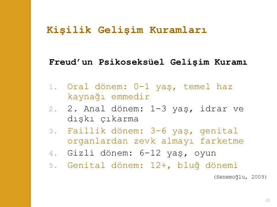 43 Kişilik Gelişim Kuramları Freud'un Psikoseksüel Gelişim Kuramı 1. Oral dönem: 0-1 yaş, temel haz kaynağı emmedir 2. 2. Anal dönem: 1-3 yaş, idrar v