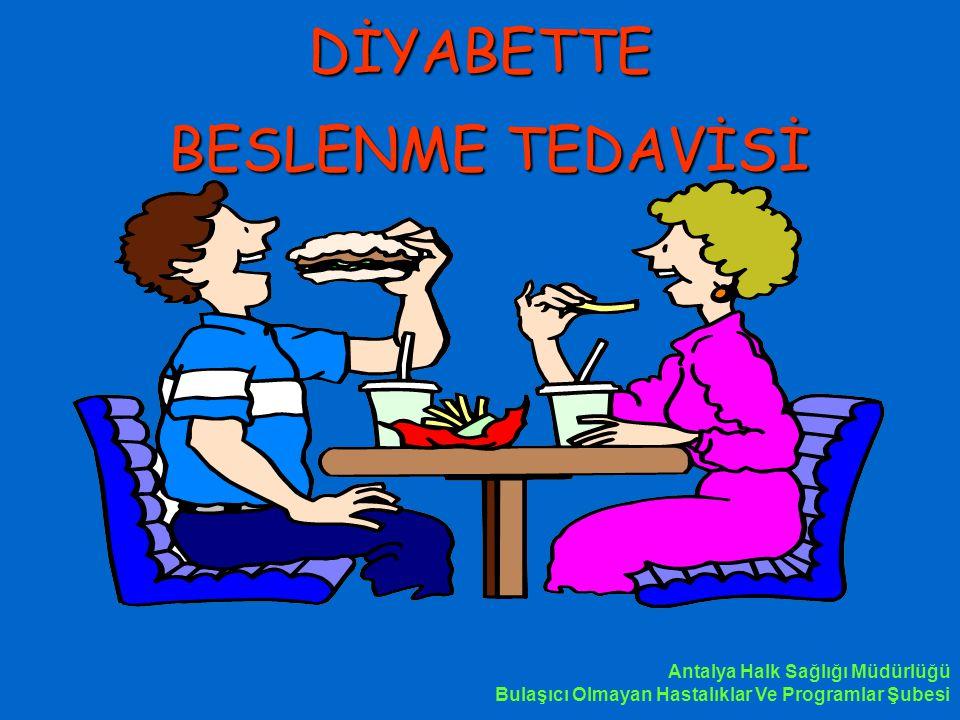 DİYABETTE BESLENME TEDAVİSİ Antalya Halk Sağlığı Müdürlüğü Bulaşıcı Olmayan Hastalıklar Ve Programlar Şubesi