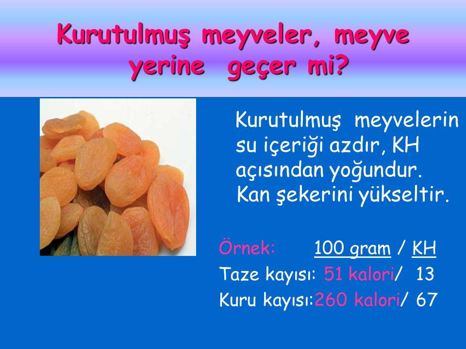 Kurutulmuş meyveler, meyve yerine geçer mi? Kurutulmuş meyvelerin su içeriği azdır, KH açısından yoğundur. Kan şekerini yükseltir. Örnek: 100 gram / K
