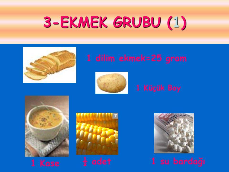 3-EKMEK GRUBU (1) 1 dilim ekmek=25 gram 1 Kase ½ adet 1 su bardağı 1 Küçük Boy