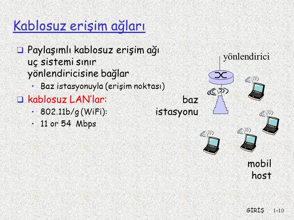 GİRİŞ1-10 Kablosuz erişim ağları  Paylaşımlı kablosuz erişim ağı uç sistemi sınır yönlendiricisine bağlar •Baz istasyonuyla (erişim noktası)  kablosuz LAN'lar: •802.11b/g (WiFi): •11 or 54 Mbps baz istasyonu mobil host yönlendirici