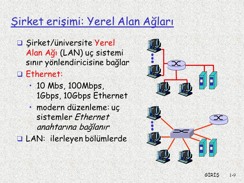 GİRİŞ1-9 Şirket erişimi: Yerel Alan Ağları  Şirket/üniversite Yerel Alan Ağı (LAN) uç sistemi sınır yönlendiricisine bağlar  Ethernet: •10 Mbs, 100Mbps, 1Gbps, 10Gbps Ethernet •modern düzenleme: uç sistemler Ethernet anahtarına bağlanır  LAN: ilerleyen bölümlerde