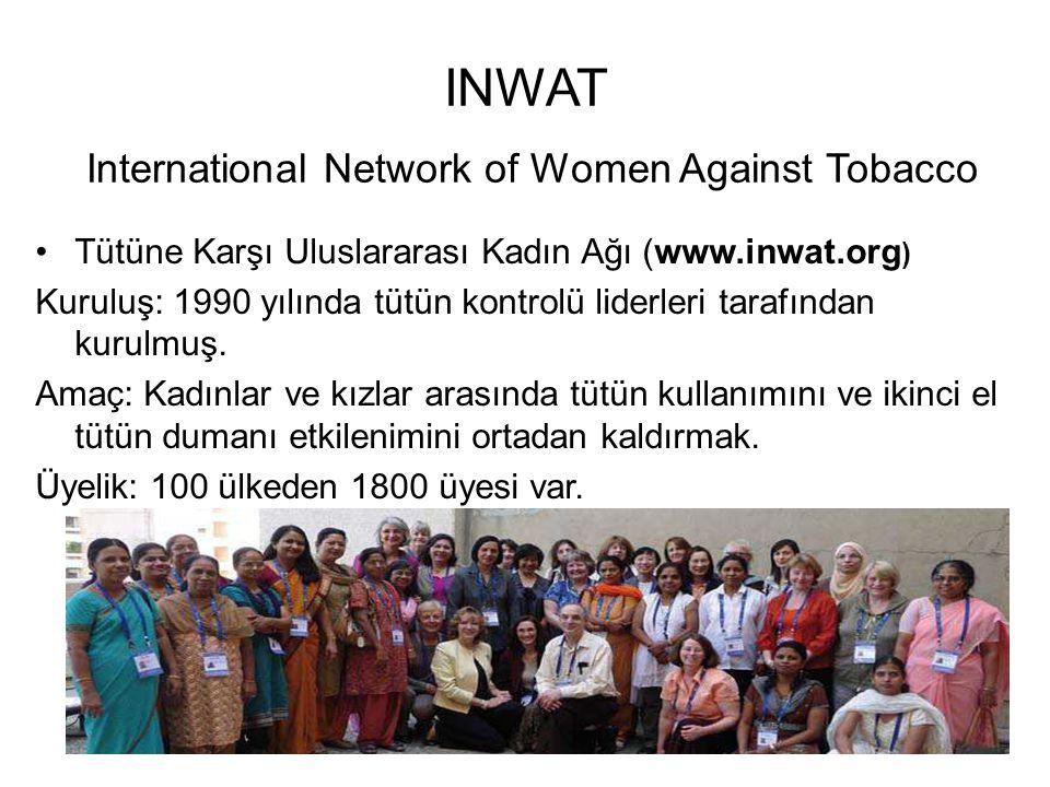 INWAT International Network of Women Against Tobacco •Tütüne Karşı Uluslararası Kadın Ağı (www.inwat.org ) Kuruluş: 1990 yılında tütün kontrolü liderleri tarafından kurulmuş.
