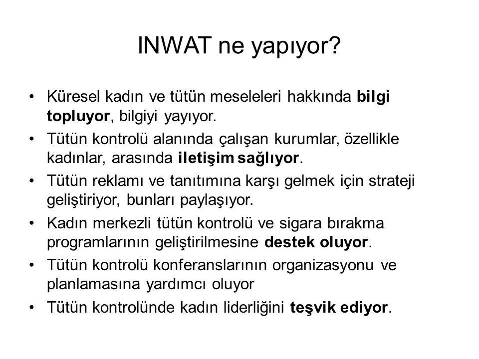 INWAT ne yapıyor. •Küresel kadın ve tütün meseleleri hakkında bilgi topluyor, bilgiyi yayıyor.