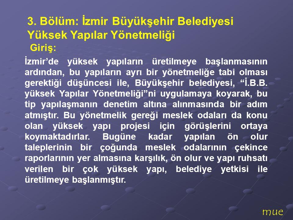 mue İzmir'de yüksek yapıların üretilmeye başlanmasının ardından, bu yapıların ayrı bir yönetmeliğe tabi olması gerektiği düşüncesi ile, Büyükşehir bel
