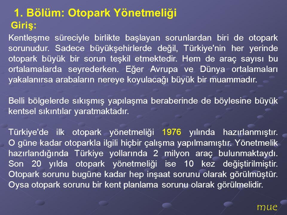 mue Kentleşme süreciyle birlikte başlayan sorunlardan biri de otopark sorunudur. Sadece büyükşehirlerde değil, Türkiye'nin her yerinde otopark büyük b