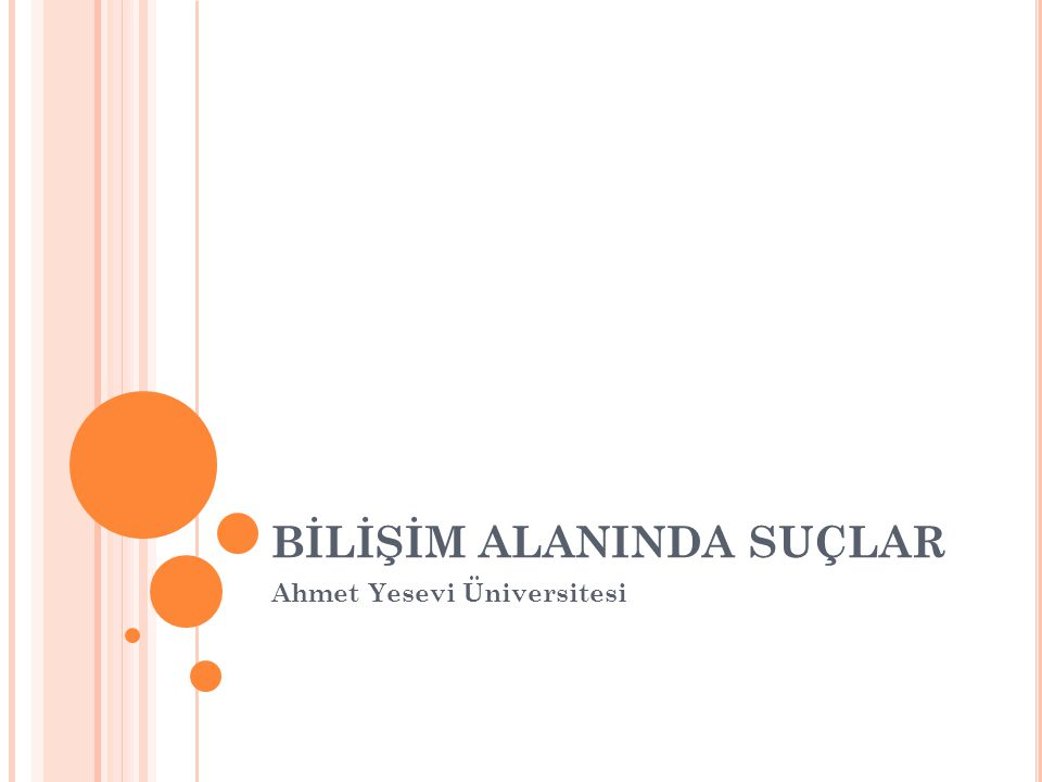 BİLİŞİM ALANINDA SUÇLAR Ahmet Yesevi Üniversitesi