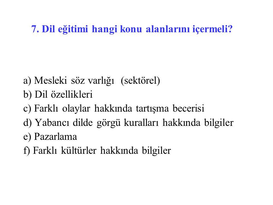 7. Dil eğitimi hangi konu alanlarını içermeli? a) Mesleki söz varlığı (sektörel) b) Dil özellikleri c) Farklı olaylar hakkında tartışma becerisi d) Ya