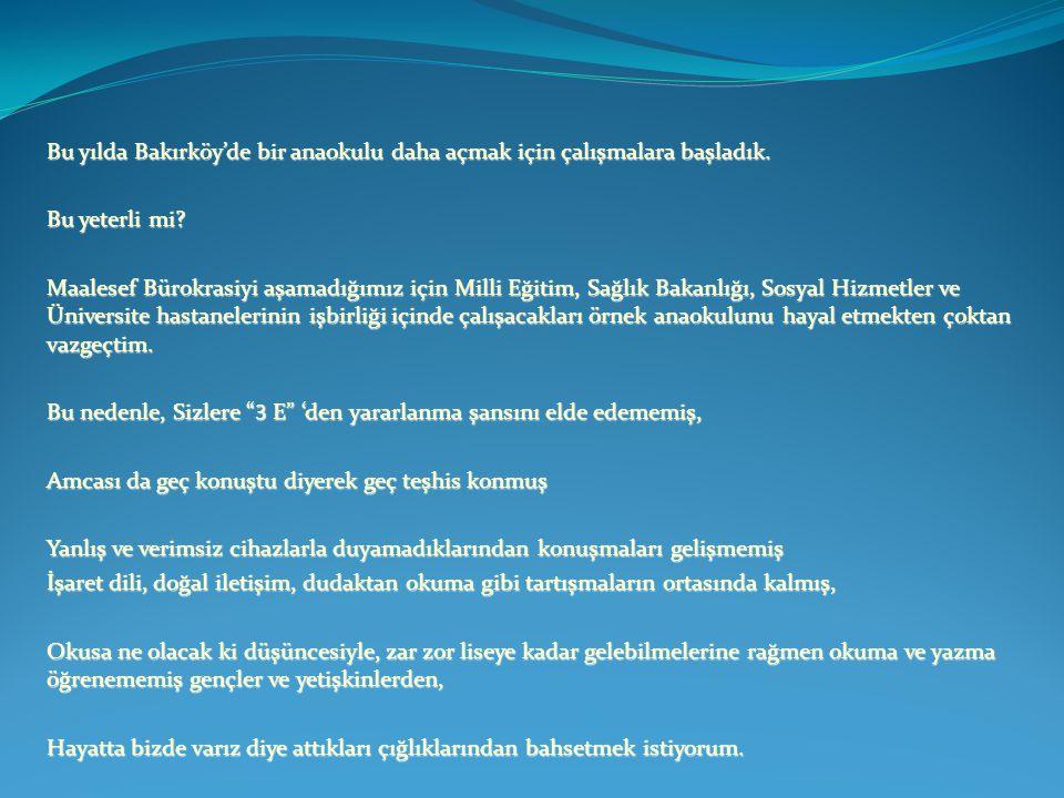 Bu yılda Bakırköy'de bir anaokulu daha açmak için çalışmalara başladık. Bu yeterli mi? Maalesef Bürokrasiyi aşamadığımız için Milli Eğitim, Sağlık Bak
