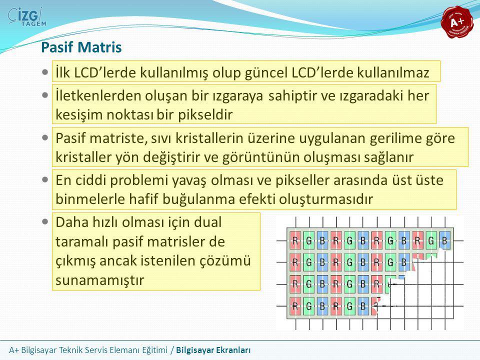 A+ Bilgisayar Teknik Servis Elemanı Eğitimi / Bilgisayar Ekranları Pasif Matris  İlk LCD'lerde kullanılmış olup güncel LCD'lerde kullanılmaz  İletke
