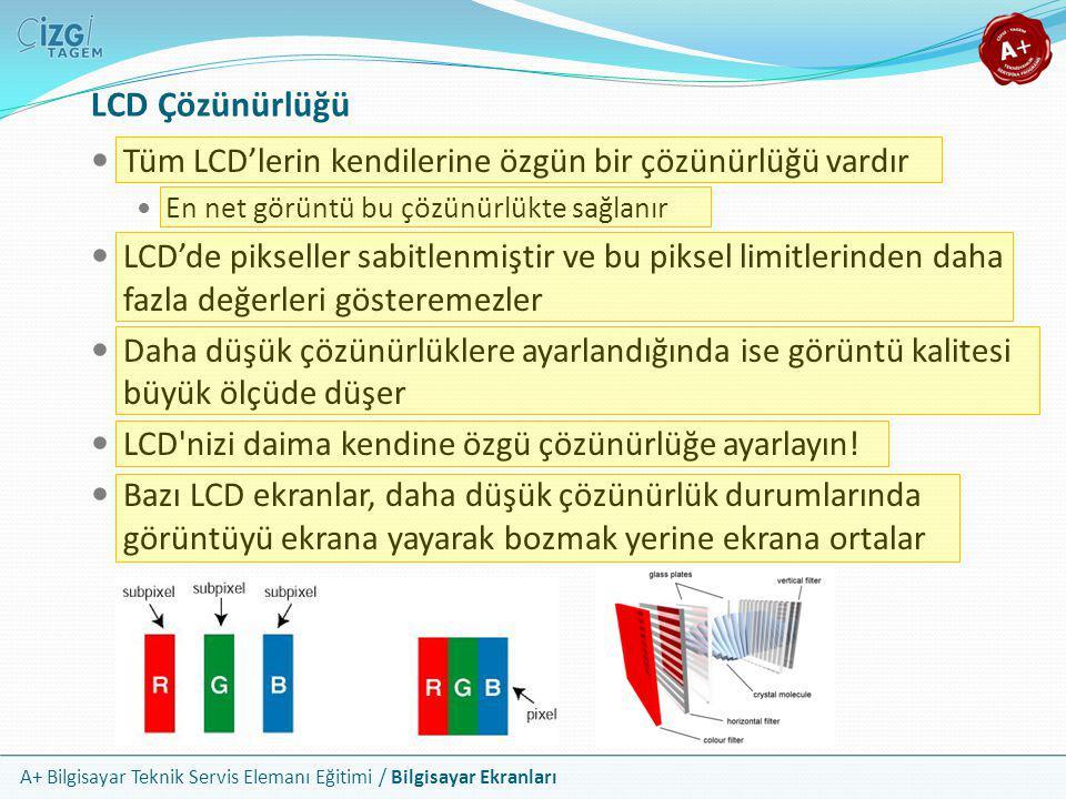 A+ Bilgisayar Teknik Servis Elemanı Eğitimi / Bilgisayar Ekranları LCD Çözünürlüğü  Tüm LCD'lerin kendilerine özgün bir çözünürlüğü vardır  En net g
