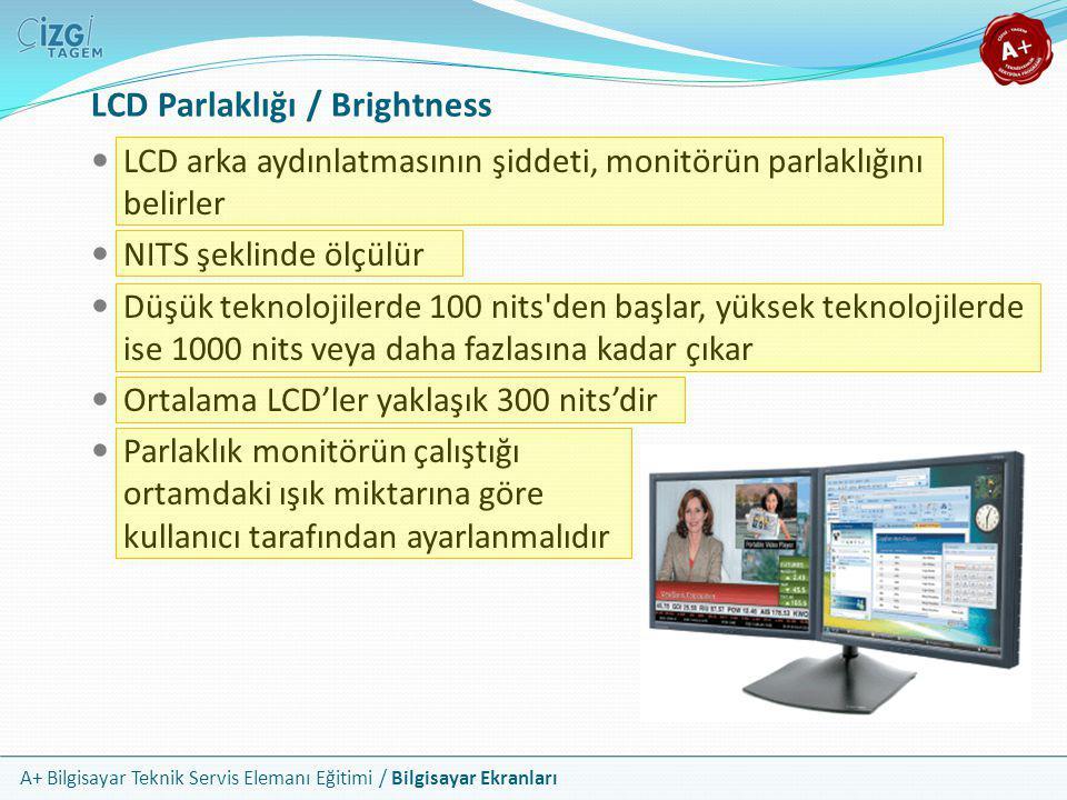 A+ Bilgisayar Teknik Servis Elemanı Eğitimi / Bilgisayar Ekranları LCD Parlaklığı / Brightness  LCD arka aydınlatmasının şiddeti, monitörün parlaklığ