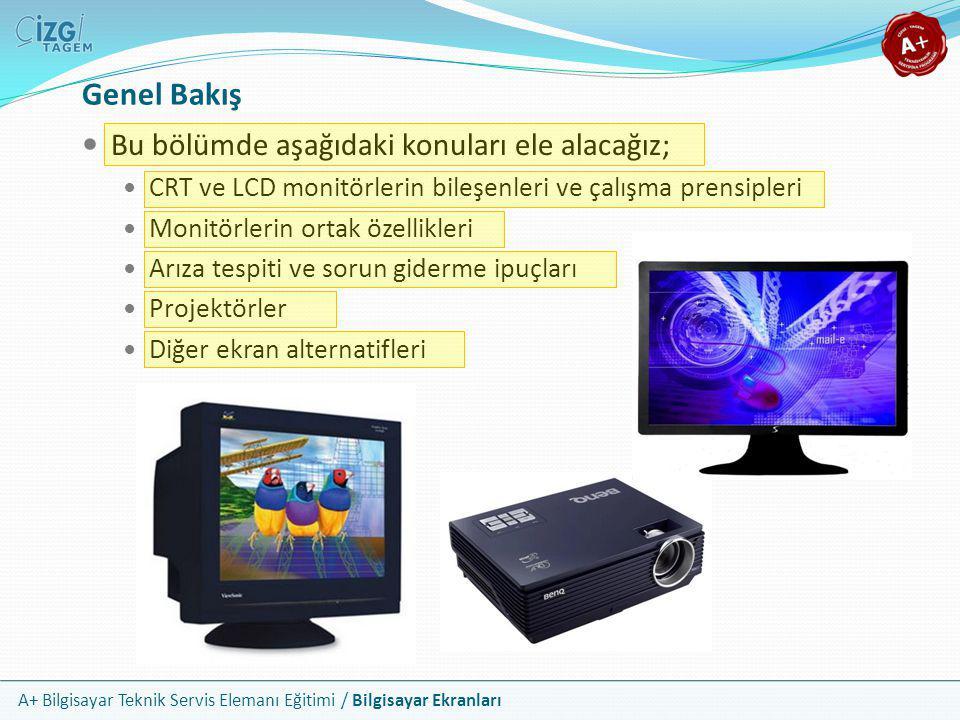 A+ Bilgisayar Teknik Servis Elemanı Eğitimi / Bilgisayar Ekranları Genel Bakış  Bu bölümde aşağıdaki konuları ele alacağız;  CRT ve LCD monitörlerin