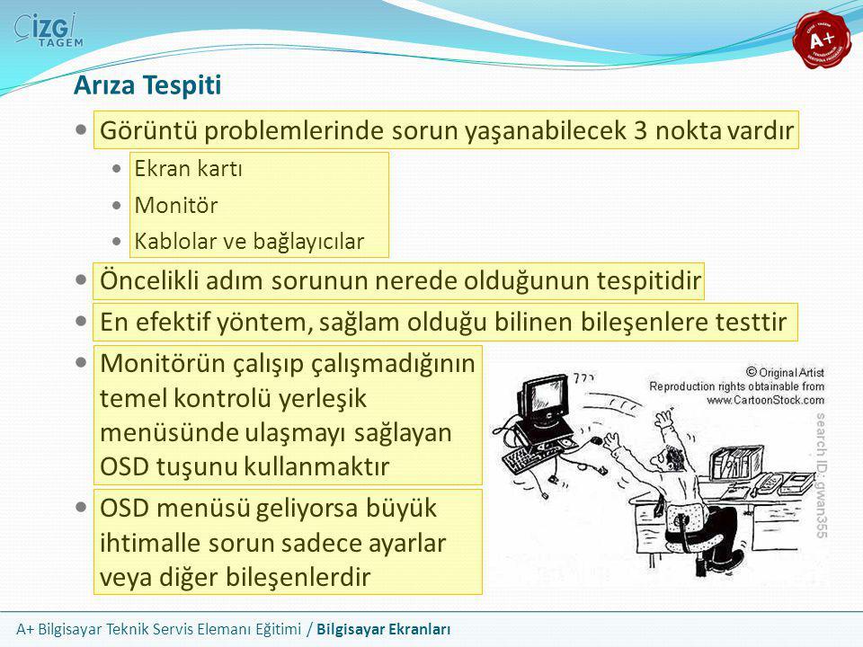 A+ Bilgisayar Teknik Servis Elemanı Eğitimi / Bilgisayar Ekranları Arıza Tespiti  Görüntü problemlerinde sorun yaşanabilecek 3 nokta vardır  Ekran k