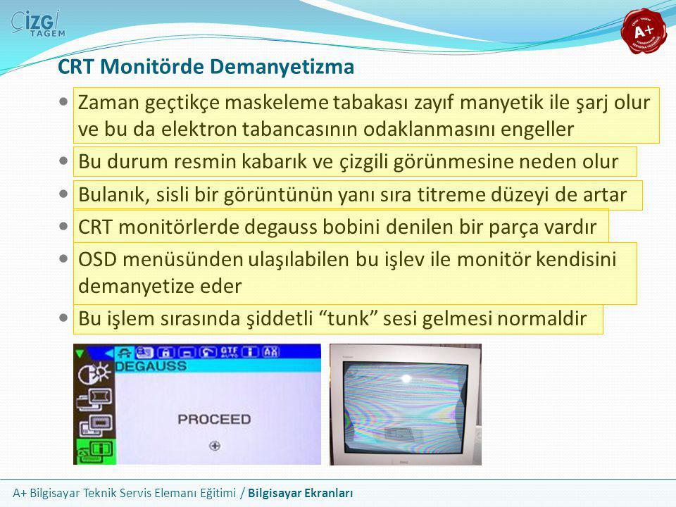 A+ Bilgisayar Teknik Servis Elemanı Eğitimi / Bilgisayar Ekranları CRT Monitörde Demanyetizma  Zaman geçtikçe maskeleme tabakası zayıf manyetik ile ş