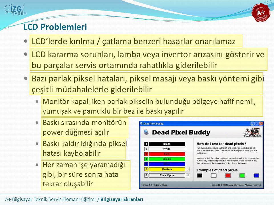A+ Bilgisayar Teknik Servis Elemanı Eğitimi / Bilgisayar Ekranları LCD Problemleri  LCD'lerde kırılma / çatlama benzeri hasarlar onarılamaz  LCD kar
