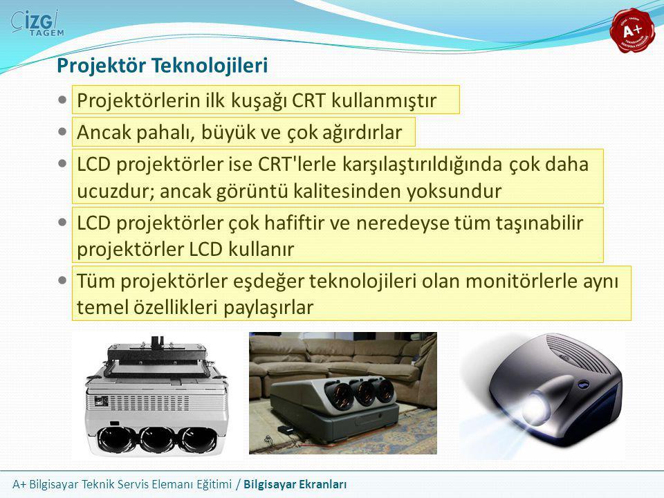 A+ Bilgisayar Teknik Servis Elemanı Eğitimi / Bilgisayar Ekranları Projektör Teknolojileri  Projektörlerin ilk kuşağı CRT kullanmıştır  Ancak pahalı