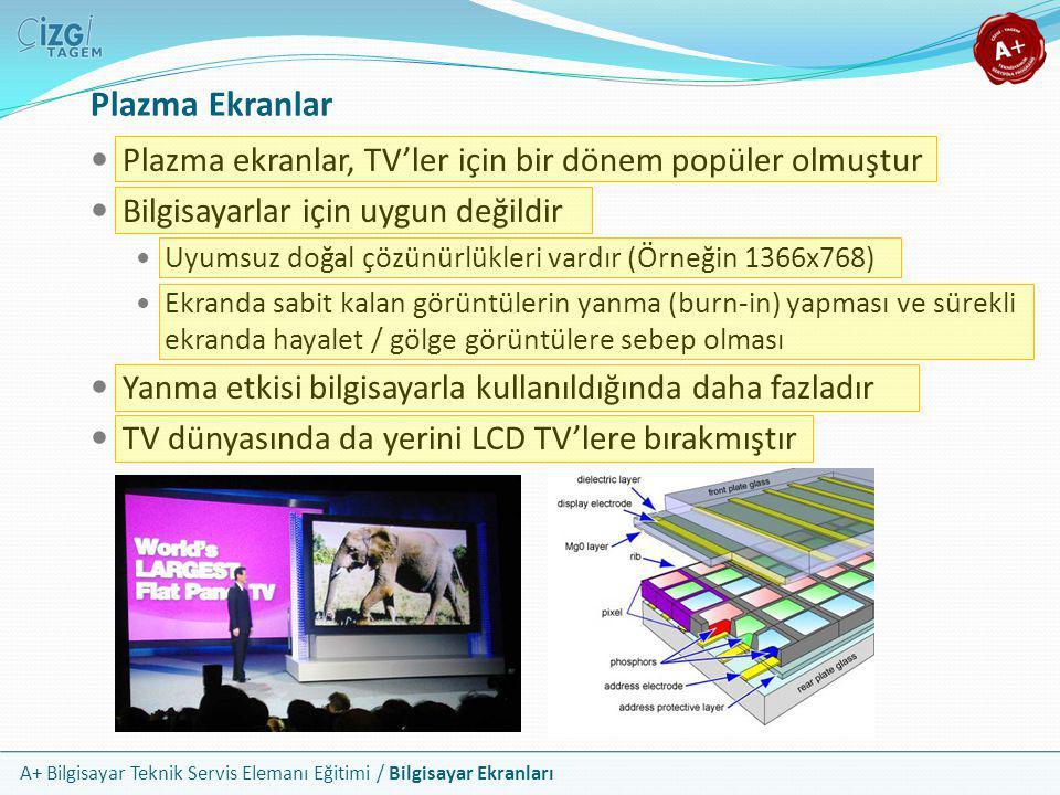 A+ Bilgisayar Teknik Servis Elemanı Eğitimi / Bilgisayar Ekranları Plazma Ekranlar  Plazma ekranlar, TV'ler için bir dönem popüler olmuştur  Bilgisa