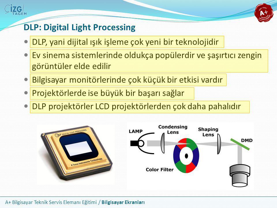 A+ Bilgisayar Teknik Servis Elemanı Eğitimi / Bilgisayar Ekranları DLP: Digital Light Processing  DLP, yani dijital ışık işleme çok yeni bir teknoloj