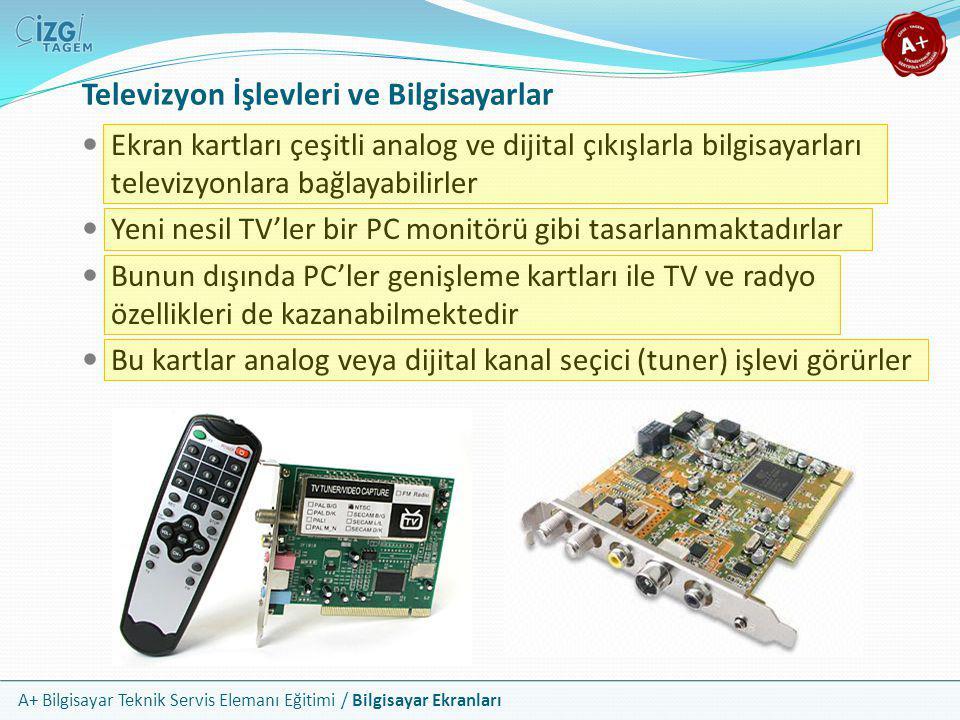 A+ Bilgisayar Teknik Servis Elemanı Eğitimi / Bilgisayar Ekranları Televizyon İşlevleri ve Bilgisayarlar  Ekran kartları çeşitli analog ve dijital çı