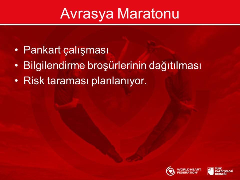 Avrasya Maratonu •Pankart çalışması •Bilgilendirme broşürlerinin dağıtılması •Risk taraması planlanıyor.