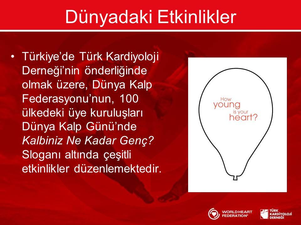 Dünyadaki Etkinlikler •Türkiye'de Türk Kardiyoloji Derneği'nin önderliğinde olmak üzere, Dünya Kalp Federasyonu'nun, 100 ülkedeki üye kuruluşları Dünya Kalp Günü'nde Kalbiniz Ne Kadar Genç.