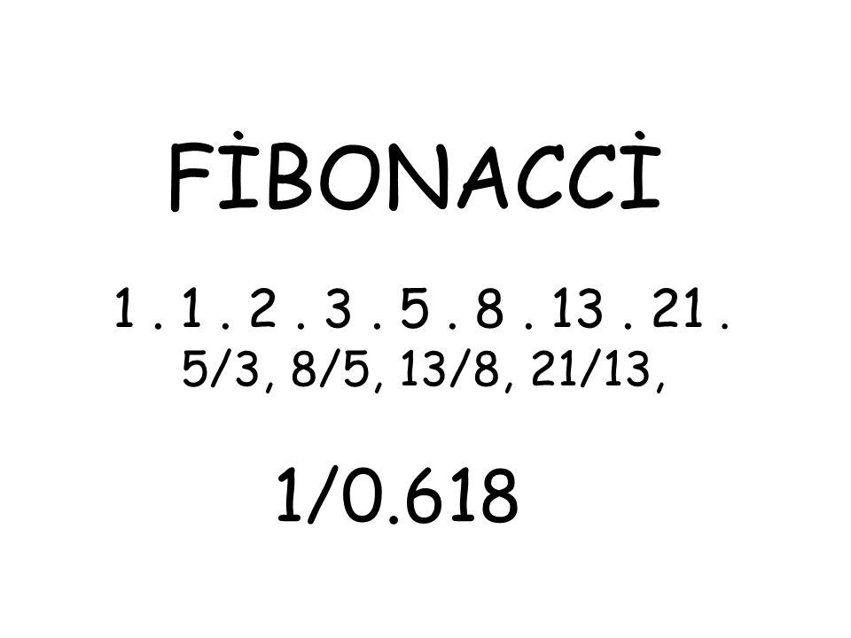 FİBONACCİ 1. 1. 2. 3. 5. 8. 13. 21. 5/3, 8/5, 13/8, 21/13, 1/0.618