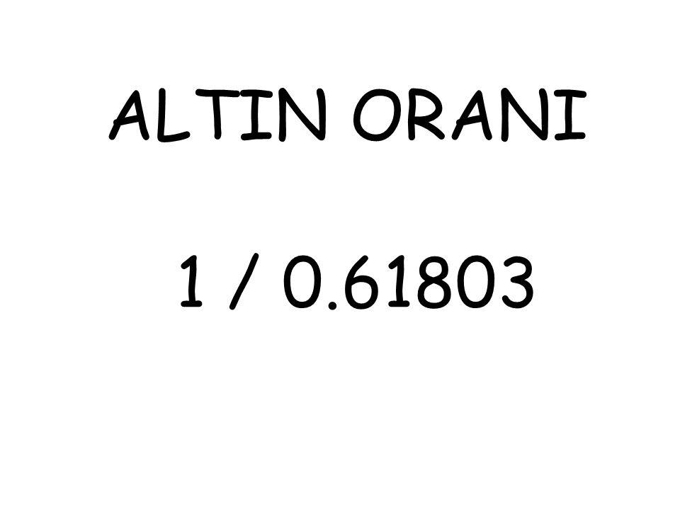 ALTIN ORANI DENEN BU ORANTI YANİ 1/0.61803 HEP ESTETİK OLARAK KABUL EDİLEN ŞEYLERDE, (ŞEYLERDE DİYORUM, ARABADAN DİŞE KADAR HER ŞEYDE) BİR BEĞENİ, BİR HOŞLUK, YANİ ESTETİĞİN BİR ŞARTI OLARAK KABUL EDİLMİŞ.