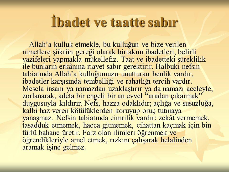 İbadet ve taatte sabır Allah'a kulluk etmekle, bu kulluğun ve bize verilen nimetlere şükrün gereği olarak birtakım ibadetleri, belirli vazifeleri yapm