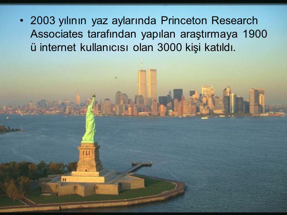 •2003 yılının yaz aylarında Princeton Research Associates tarafından yapılan araştırmaya 1900 ü internet kullanıcısı olan 3000 kişi katıldı.