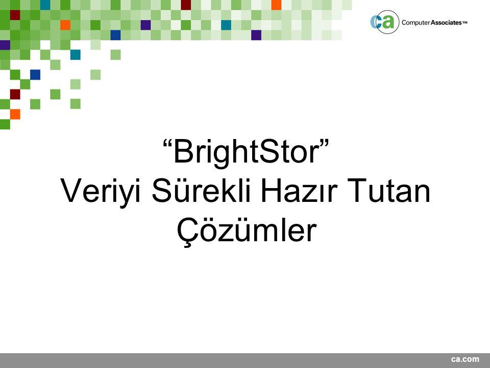 "ca.com ""BrightStor"" Veriyi Sürekli Hazır Tutan Çözümler"
