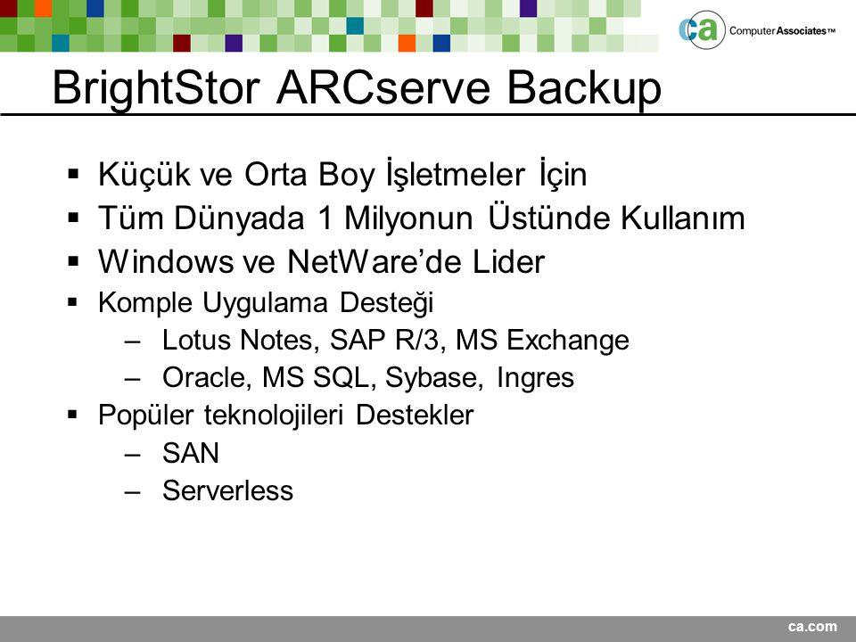 ca.com BrightStor ARCserve Backup  Küçük ve Orta Boy İşletmeler İçin  Tüm Dünyada 1 Milyonun Üstünde Kullanım  Windows ve NetWare'de Lider  Komple