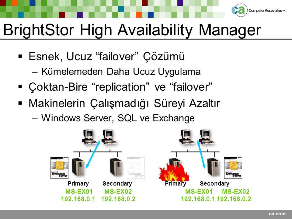 """ca.com BrightStor High Availability Manager  Esnek, Ucuz """"failover"""" Çözümü –Kümelemeden Daha Ucuz Uygulama  Çoktan-Bire """"replication"""" ve """"failover"""""""