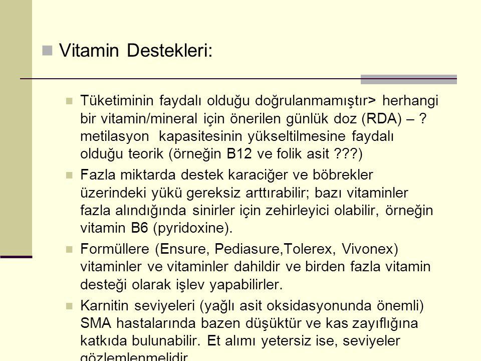  Vitamin Destekleri:  Tüketiminin faydalı olduğu doğrulanmamıştır> herhangi bir vitamin/mineral için önerilen günlük doz (RDA) – ? metilasyon kapasi