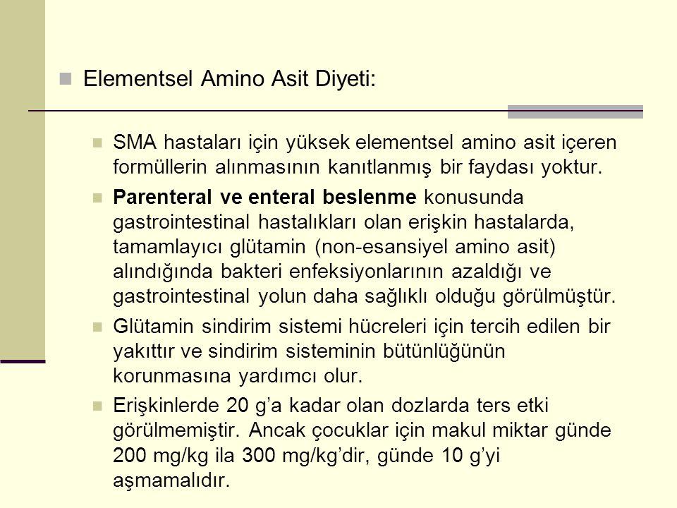  Elementsel Amino Asit Diyeti:  SMA hastaları için yüksek elementsel amino asit içeren formüllerin alınmasının kanıtlanmış bir faydası yoktur.  Par