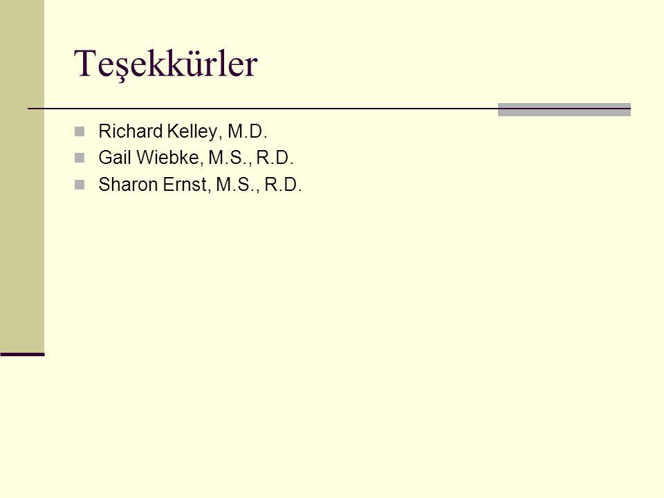 Teşekkürler  Richard Kelley, M.D.  Gail Wiebke, M.S., R.D.  Sharon Ernst, M.S., R.D.
