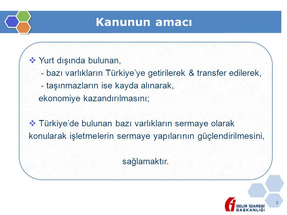 23 Varlıkların bildirim & beyan değeri Yurt dışında/Türkiye'de bulunan varlıkların;  Vergi dairelerine beyan edilmesinde,  Banka & aracı kurumlara bildirilmesinde,  Yasal defterlere kaydedilmesinde, bu varlıkların rayiç bedelinin Türk Lirası karşılığı esas alınacaktır.