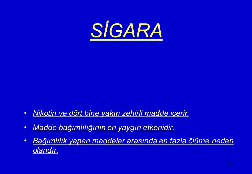 5 SİGARA •N•Nikotin ve dört bine yakın zehirli madde içerir. •M•Madde bağımlılığının en yaygın etkenidir. •B•Bağımlılık yapan maddeler arasında en faz