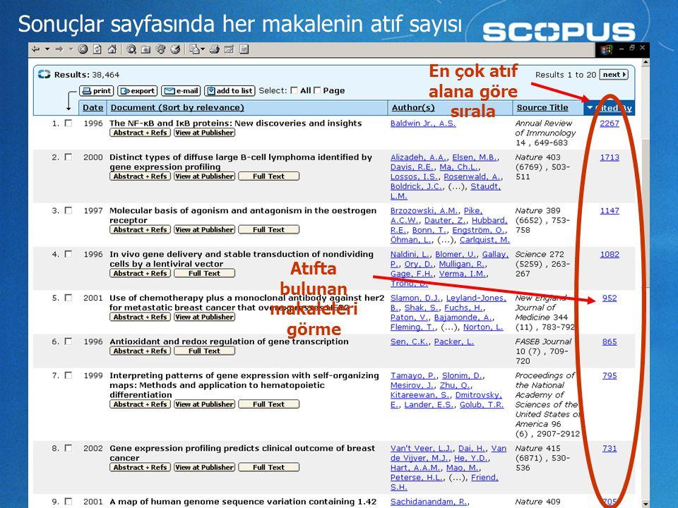 9 Sonuçlar sayfasında her makalenin atıf sayısı En çok atıf alana göre sırala Atıfta bulunan makaleleri görme