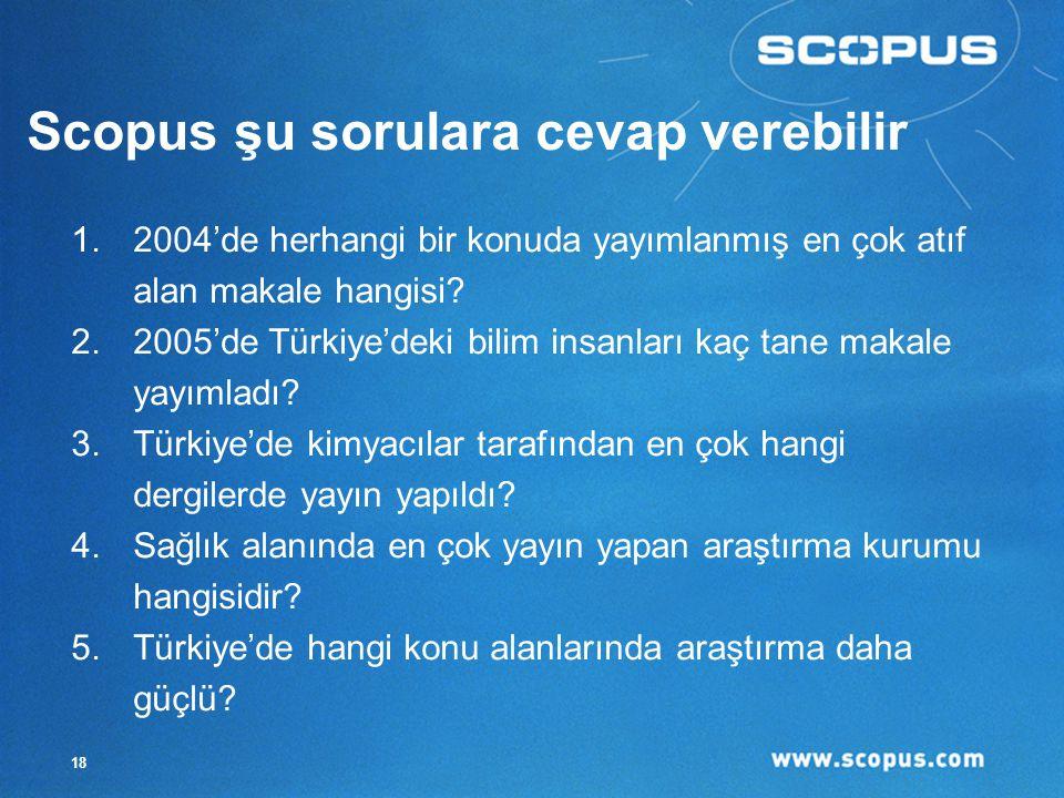 18 Scopus şu sorulara cevap verebilir 1.2004'de herhangi bir konuda yayımlanmış en çok atıf alan makale hangisi.