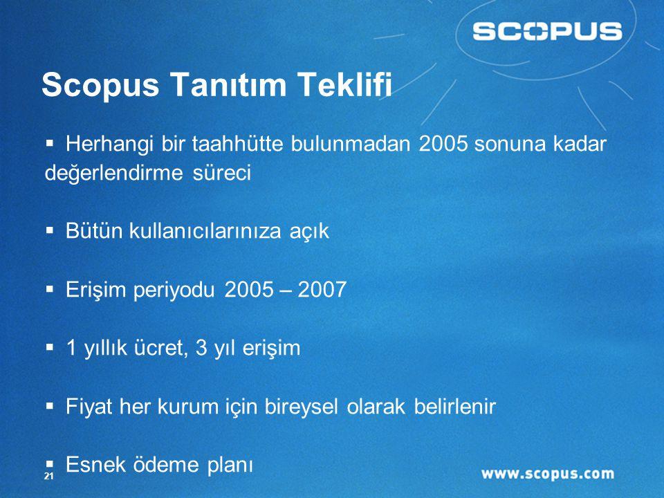21 Scopus Tanıtım Teklifi  Herhangi bir taahhütte bulunmadan 2005 sonuna kadar değerlendirme süreci  Bütün kullanıcılarınıza açık  Erişim periyodu 2005 – 2007  1 yıllık ücret, 3 yıl erişim  Fiyat her kurum için bireysel olarak belirlenir  Esnek ödeme planı