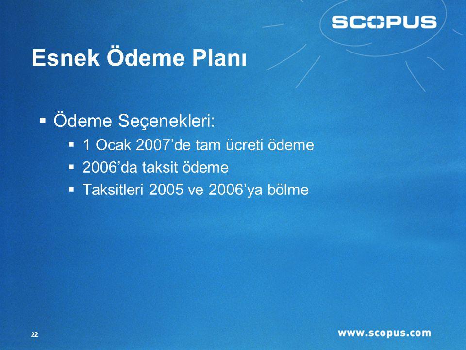 22 Esnek Ödeme Planı  Ödeme Seçenekleri:  1 Ocak 2007'de tam ücreti ödeme  2006'da taksit ödeme  Taksitleri 2005 ve 2006'ya bölme