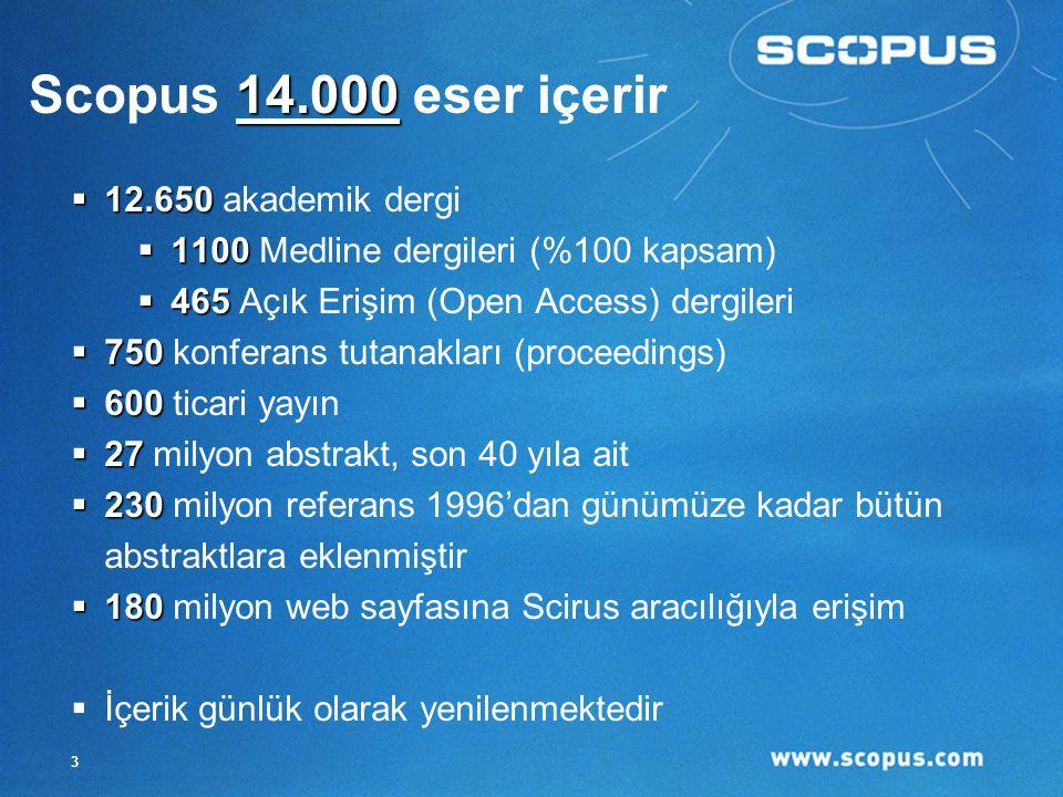 3  12.650  12.650 akademik dergi  1100  1100 Medline dergileri (%100 kapsam)  465  465 Açık Erişim (Open Access) dergileri  750  750 konferans tutanakları (proceedings)  600  600 ticari yayın  27  27 milyon abstrakt, son 40 yıla ait  230  230 milyon referans 1996'dan günümüze kadar bütün abstraktlara eklenmiştir  180  180 milyon web sayfasına Scirus aracılığıyla erişim  İçerik günlük olarak yenilenmektedir 14.000 Scopus 14.000 eser içerir
